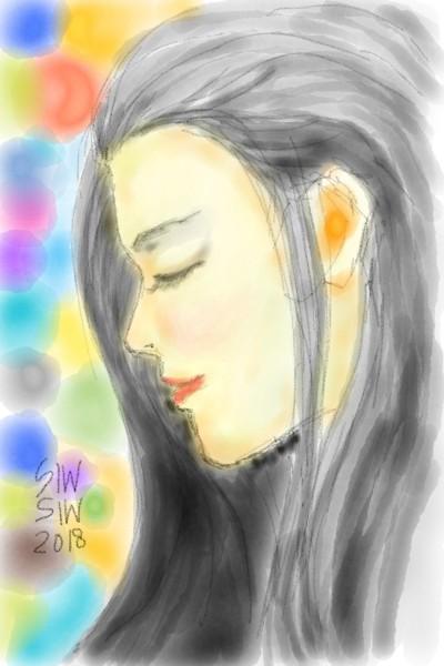 Tumungkul, thinking about you. | Siwi_Widjayanti | Digital Drawing | PENUP