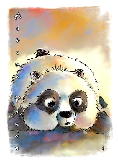 Autumn Panda ( The greetings card ) | TitusCrow | Digital Drawing | PENUP