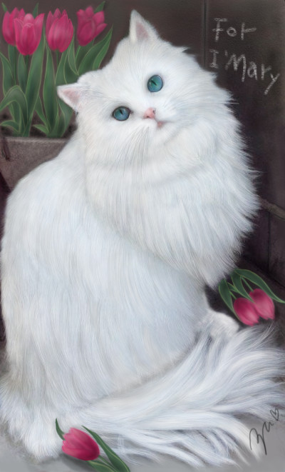 white cat ♥for i.mary  | azu | Digital Drawing | PENUP