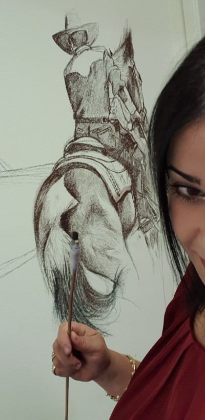 charcoal drawing on the wall    Zaynab   Digital Drawing   PENUP
